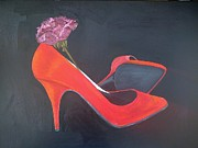 Stillettos Paintings - Red Stillettos2die4 by Tina Karen