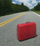 Asphalt Photos - Red Suitcase Abandoned in Road by Skip Nall