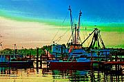 Shrimp Boat Prints - Red Sunrise and the Shrimp boat Print by Michael Thomas