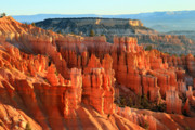 Sandstone Formation Prints - Red sunrise glow on the Hoodoos of Bryce Canyon Print by Pierre Leclerc