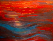 Liquid Painting Prints - Red Sunset Abstract  Print by Nancy Rucker