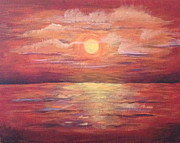 Sunset Greeting Cards Painting Posters - Red Sunset Poster by Bozena Zajaczkowska