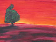 Surrealism Pastels - Red Sunset by Casey Park