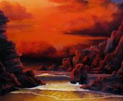 Sunset Seascape Reliefs Framed Prints - Red Sunset Framed Print by John Cocoris