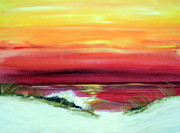 Beach Sunsets Originals - Red sunset by Tina Zachary