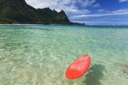 Tunnels Beach Prints - Red Surfboard - Kauai Print by Monica & Michael Sweet - Printscapes