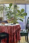 Interior Still Life Paintings - Red Table Cloth by Donald Maier