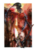 Orange Mixed Media Originals - Red Tail by Anthony Burks