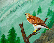 Red Tail Hawk Paintings - Red Tail Hawk by L J Oakes