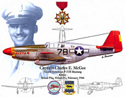 Fighter Aces Acrylic Prints - Red Tails Capt. Charles McGee Acrylic Print by A Hermann