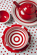 Circle Circles Prints - Red Teapot Print by Garry Gay