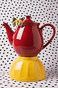 Stoneware Prints - Red teapot with butterfly Print by Garry Gay