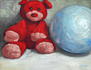 Animal Games Prints - Red Teddy and a Blue Ball Print by William Noonan