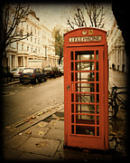 Telephone Booth Framed Prints - Red Telephone Booth in London England in a Grunge Vintage border Framed Print by ELITE IMAGE photography By Chad McDermott