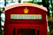 Telephone Digital Art Posters - Red Telephone Box Poster by Chris Thaxter