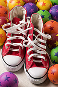 Tennis Shoes Framed Prints - Red tennis shoes and balls Framed Print by Garry Gay