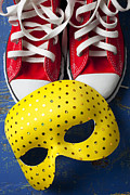 Shoe Photo Acrylic Prints - Red Tennis Shoes and Mask Acrylic Print by Garry Gay
