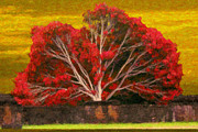 Brick Paintings - Red Thai Tree by Rob Tullis