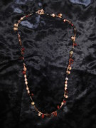 Red Beads Jewelry - Red tiger eye and bell pearl necklace by Jan Durand