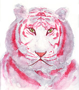 Animal Themes Painting Prints - Red tiger  Print by Ittipon Kongsua