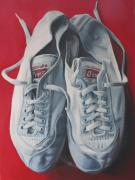 Shoe Paintings - Red Tigers by Keren Luchtenstein