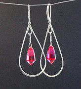 Drop Earrings Originals - Red Topaz  Acorn Cut Briolette Chandelier Drop Earrings by Robin Copper