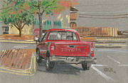 Truck Pastels Prints - Red Toyota Print by Donald Maier