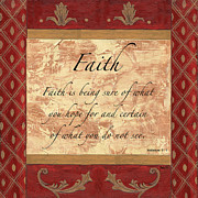 Scrolls Prints - Red Traditional Faith Print by Debbie DeWitt