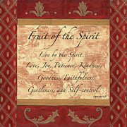 Gold Painting Posters - Red Traditional Fruit of the Spirit Poster by Debbie DeWitt