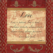 Inspirational Scripture Framed Prints - Red Traditional Love Framed Print by Debbie DeWitt