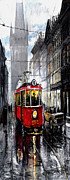 Street Mixed Media Metal Prints - Red Tram Metal Print by Yuriy  Shevchuk