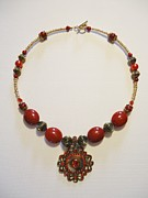 Gold Necklace Jewelry Metal Prints - Red Treasure Metal Print by Jenna Green