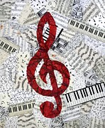 Music Symbols Posters - Red Treble Clef Poster by Loretta Alvarado