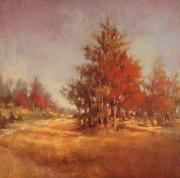 Woods Pastels - Red Tree Beside the Path by Barbara Jaenicke