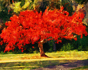 Red Tree Paintings - Red Tree by Jai Johnson