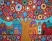 Houses Pastels Posters - Red Tree Poster by Karla Gerard