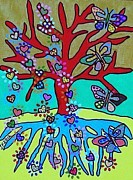 Invitations Paintings - Red Tree Of Life Falling Hearts and Growth Of Butterflies by Jennifer Fayth