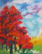 Autumn Trees Drawings Posters - Red Trees White Clouds Poster by John  Williams