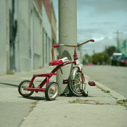 City Of Los Angeles Framed Prints - Red Tricycle Framed Print by Eyetwist / Kevin Balluff