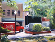 Park Scene Painting Originals - Red Truck by Laura Bird Miller