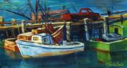 Therese Fowler-bailey Art - Red Truck on Old Morro Bay Pier by Therese Fowler-Bailey