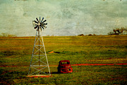 Prairie Sky Art Posters - Red Truck Red Dirt Poster by Toni Hopper