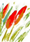 Moignard Prints - Red Tulips Print by Barbara Moignard