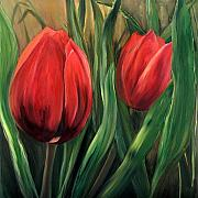 Contemporart Paintings - Red Tulips by Cynthia Blair