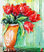 Tulips Sculpture Metal Prints - Red tulips in vase           Metal Print by Raya Finkelson