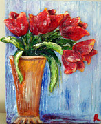 Tulips Sculpture Metal Prints - Red tulips in vase mini sculpture Metal Print by Raya Finkelson