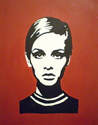 Twiggy Pop Art Paintings - Red Twiggy by Ruth Oosterman