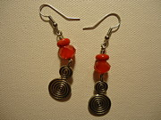 Silver Earrings Jewelry Metal Prints - Red Twist Earrings Metal Print by Jenna Green