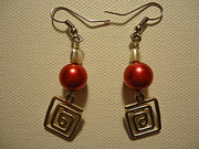 Red Jewelry Prints - Red Twisted Square Earrings Print by Jenna Green