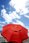 Sunbath Posters - Red Umbrella At Beach Poster by Brian Akamine
